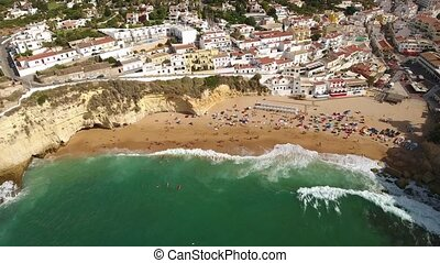 Schuss, aus, Dorf,  portugal, Luftaufnahmen, Wellen,  carvoeiro, sandstrand