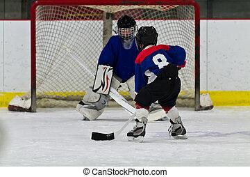 schuss, junger, eis, spieler, hockey, bereitet, netz
