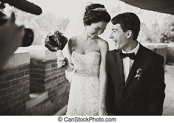 schuss, kameramann, lächeln, paar, wedding