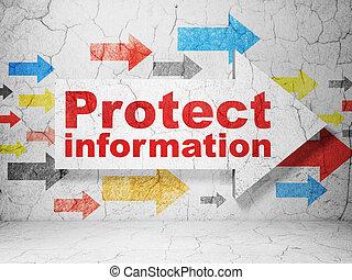 schutz, concept:, pfeil, mit, schützen, informationen, auf, grunge, wand, hintergrund