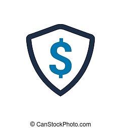 schutz, finanziell, ikone
