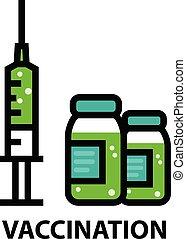 schutz, impfstoff, ikone, flasche, -, spritze, virus, ...