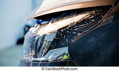 schutz, membrane, auf, auto, scheinwerfer