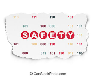 schutz, zerrissenen papier, sicherheit, hintergrund, concept: