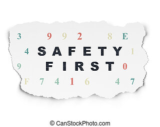 schutz, zerrissenen papier, sicherheit, hintergrund, concept:, zuerst