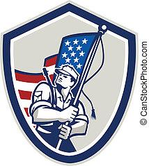 schutzschirm, amerikanische , streifen, winkende , soldat,...