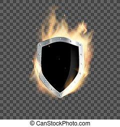 schutzschirm, brennt, metall, flamme, ritterwappen,...