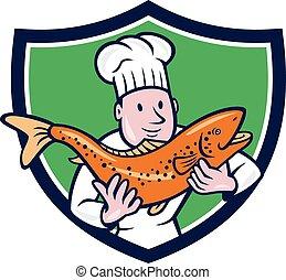 schutzschirm, fische, küchenchef, besitz, koch, karikatur, forelle