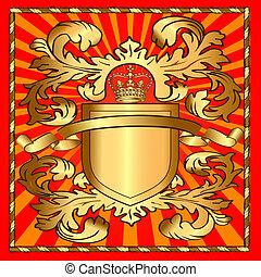 schutzschirm, gold, muster, korona, abbildung, strahl
