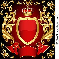 schutzschirm, gold(en), verzierung, krone, gewehr, band