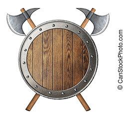 schutzschirm, hölzern, ritter, freigestellt, zwei, battle-axes, gekreuzt, runder