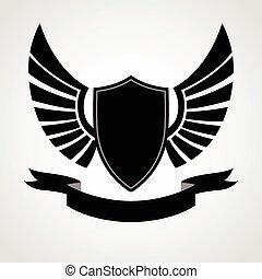 schutzschirm, ikone, flügeln