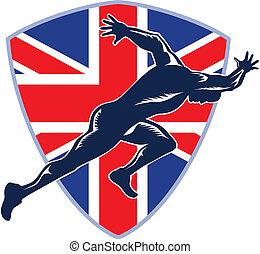 schutzschirm, läufer, sprinter, britisch, start, fahne