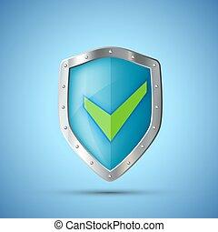 schutzschirm, mark., metall, grün, kontrollieren, ikone