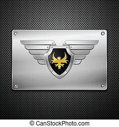 schutzschirm, mit, adler, und, wings., vektor, illustration.