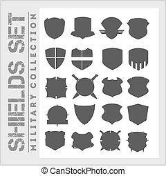 schutzschirm, rahmen, heiligenbilder, satz, -, militaer, schilder