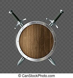 schutzschirm, swords., hölzern, mantel, arme, runder