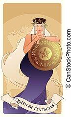 schutzschirm, tarot, krone, spanischer , center., spielende , pentacle, goldenes, geringfügig, arcana, langer, pentacles, königin, karten., symbol, haar, besitz, gold.