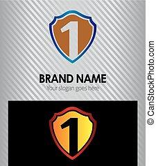 schutzschirm, zählen, 1, logo, blaues