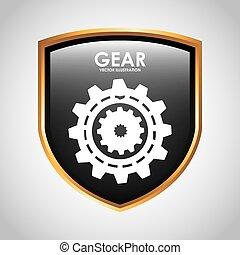 schutzschirm, zahnräder, design