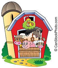 schuur, met, gevarieerd, boerderijdieren