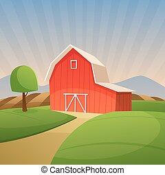 schuur, rood, boerderij