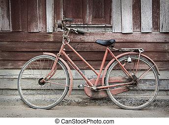 schuur, tegen, oude fiets, grungy, neiging