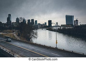 schuylkill, филадельфия, река, линия горизонта, pennsylvania.