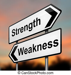 schwäche, concept., strengths, oder