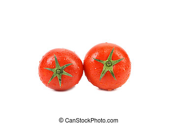 schwänze, grün, zwei, tomaten, frisch