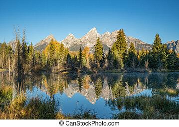 Teton mountains reflect on the Snake river at Schwabacher Landing in Grand Teton National Park, Wyoming