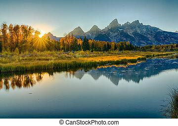 Sunset at Schwabacher's Landing in Grand Teton National Park