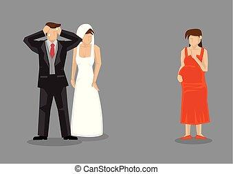 schwanger, abbildung, bräutigam, vektor, genervt, freundin,...