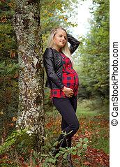 schwanger, junge frau, basierend, in, herbst wald
