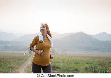 schwanger, natur, frau, jogging, draußen