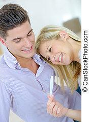 schwangerschaftstest, paar, besitz