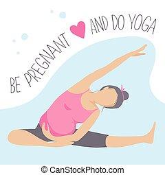 schwangerschaftsuntersuchung, frau, exercise., yoga., ...