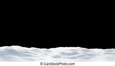 schwarz, 3d, schneewehe, render, freigestellt, hintergrund
