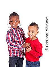 schwarz, afrikanisches amerikanisches kind, mit, stethoskop