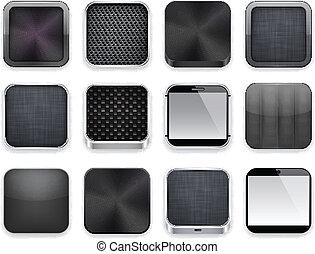 schwarz, app, icons.