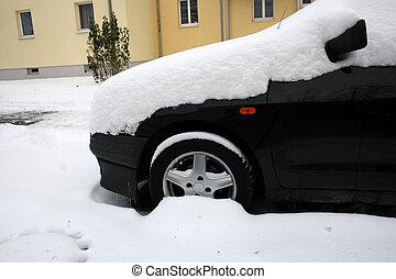 schwarz, auto, in, winter