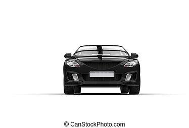 schwarz, auto, -, vorderansicht