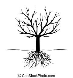 schwarz, baum, mit, roots., vektor, illustration.