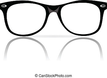 schwarz, brille, rahmen