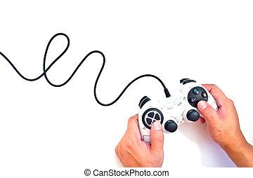 schwarz, controller, hintergrund, freigestellt, spiel, hand, weißes