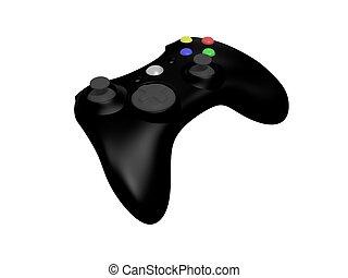 schwarz, controller, weißes, videospiel