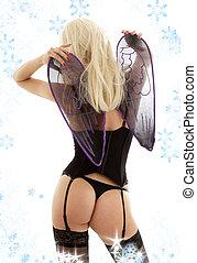 schwarz, damenunterwäsche, engelchen, von, zurück, mit, schneeflocken