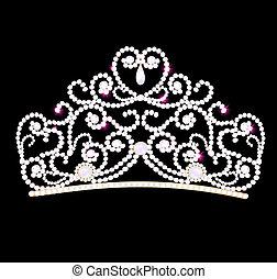 schwarz, diadem, hintergrund, wedding, weiblich