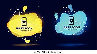 schwarz, einstellung, auf, smartphone, schirm, icon., handy, und, ausrüstung, zeichen., einstellung, app, satz, optionen, reparatur, reparieren, telefon, concepts., satz, von, flüssiglkeit, farbe, abstrakt, geometrisch, shapes., vektor, abbildung