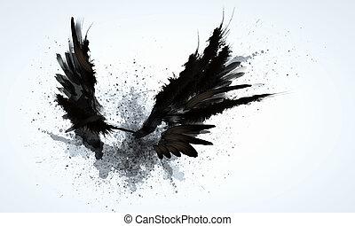 schwarz, flügeln